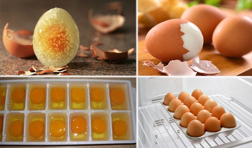 замороженные и вареные яйца