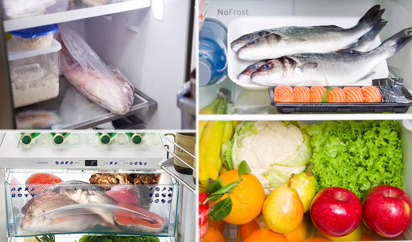 свежая рыба в холодильнике