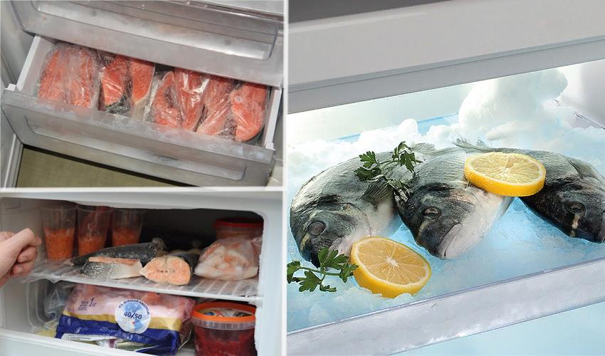 свежая рыба в морозилке