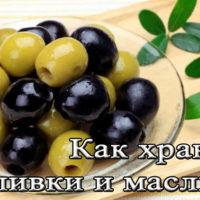 Срок и температура хранения оливок и маслины