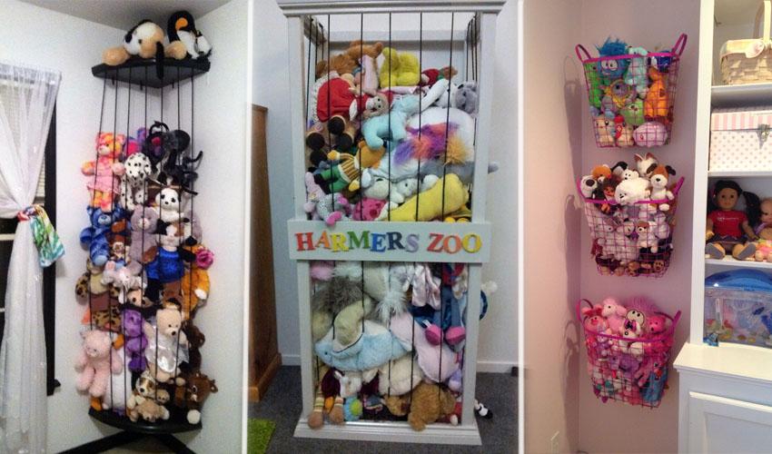 варианты хранения мягких игрушек