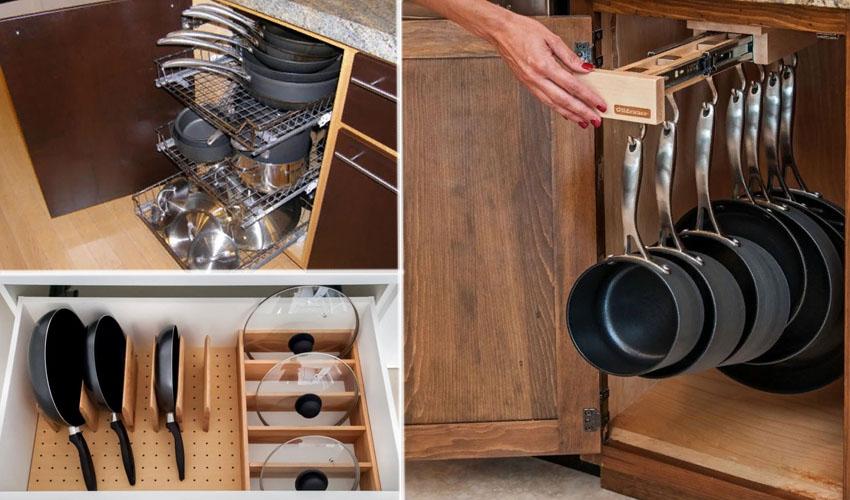хранение сковород на кухне
