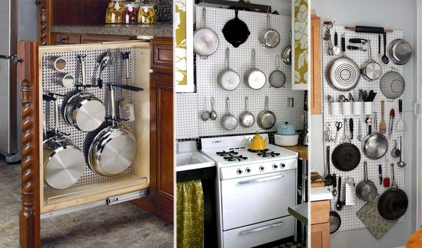 хранение сковород на рейлингах